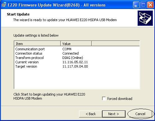 Updating firmware huawei e220